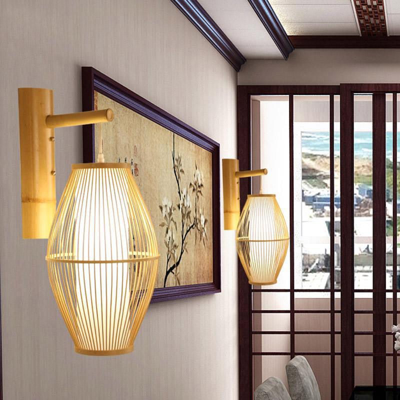 Bamboo Wicker Rattan Lantern Shade Wall Lamp By Artisan Living