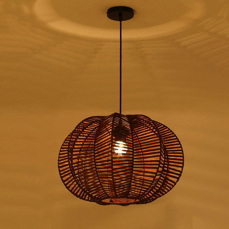 Wicker Rattan Shade Pumpkin Pendant Light By Artisan Living