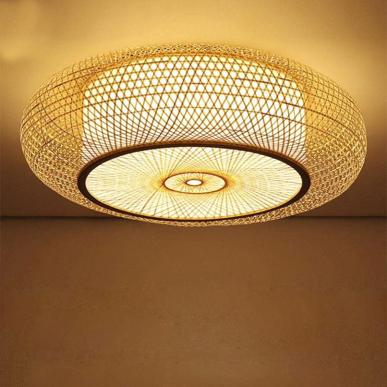 Bamboo Wicker Rattan Round Ripple Ceiling Light By Artisan Living