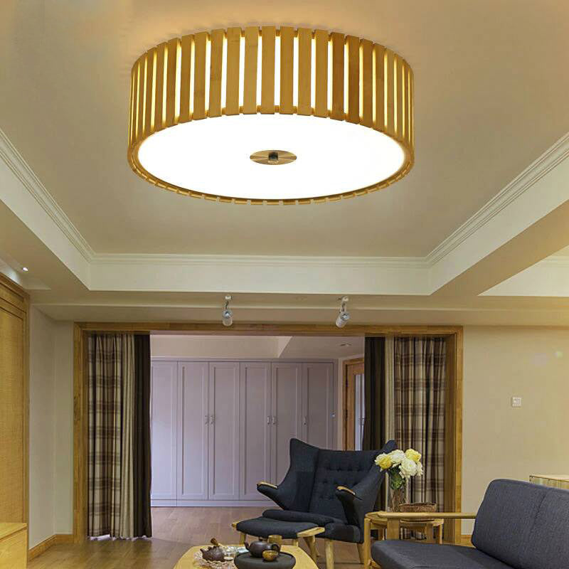 LED Bamboo Round Ceiling Light By Artisan Living