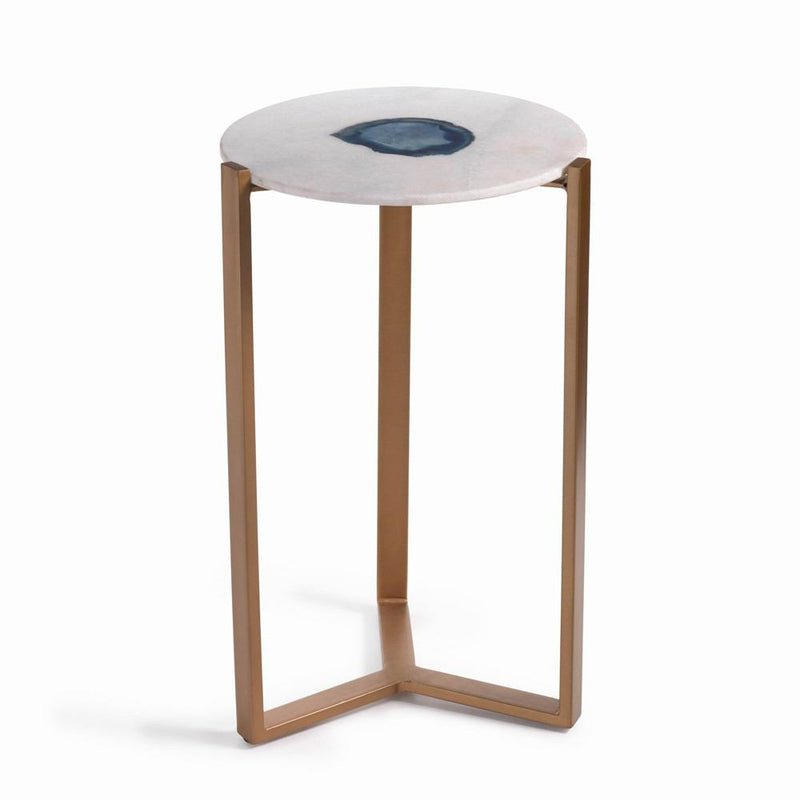 Zodax 20-Inch High Caspian Agate and Marble Inlay Accent Table