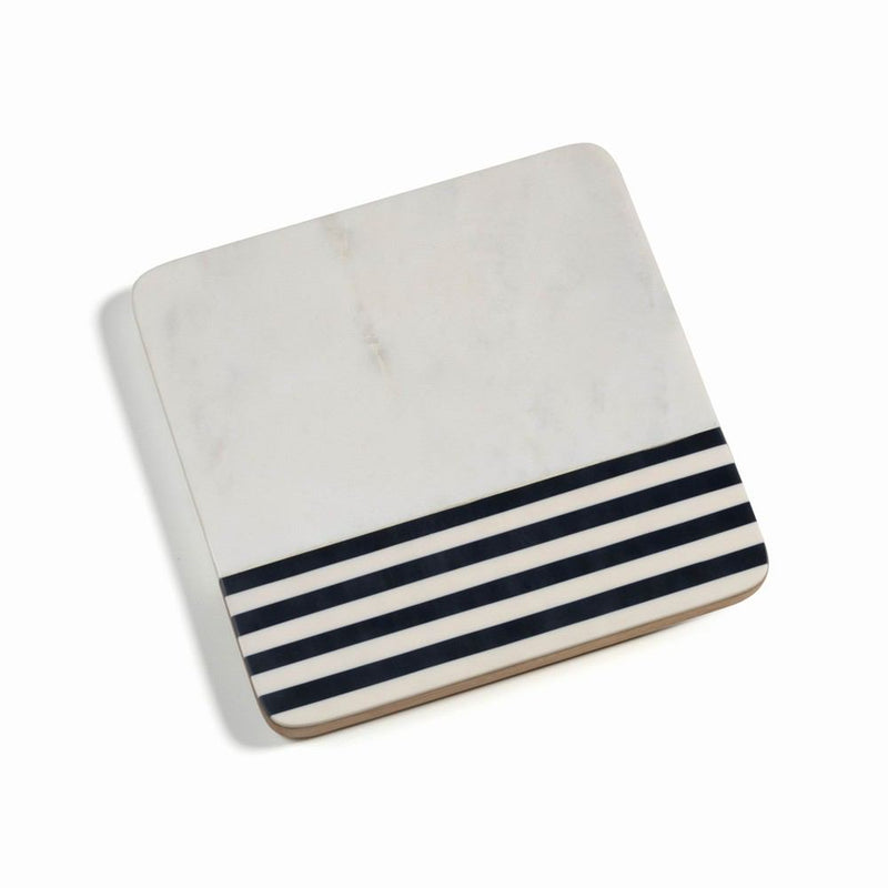 Zodax Marine Marble and Wood Cheese Board - 9-Inch Square