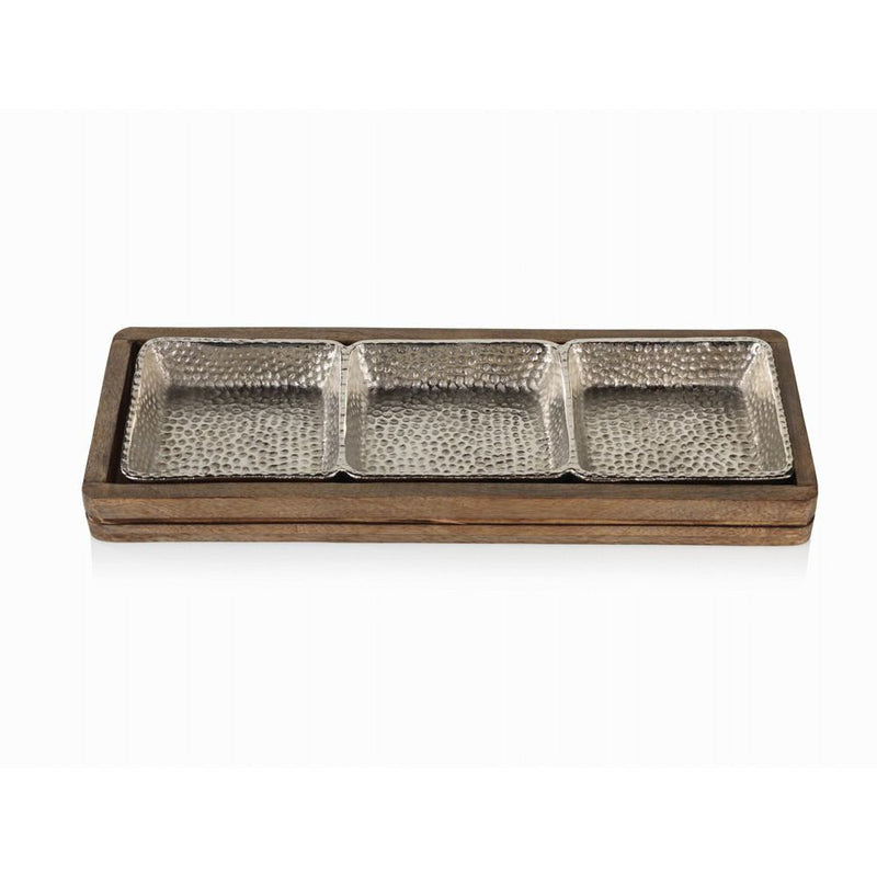Zodax Mango Wood & Hammered Aluminum Sectional Snack Serving Tray