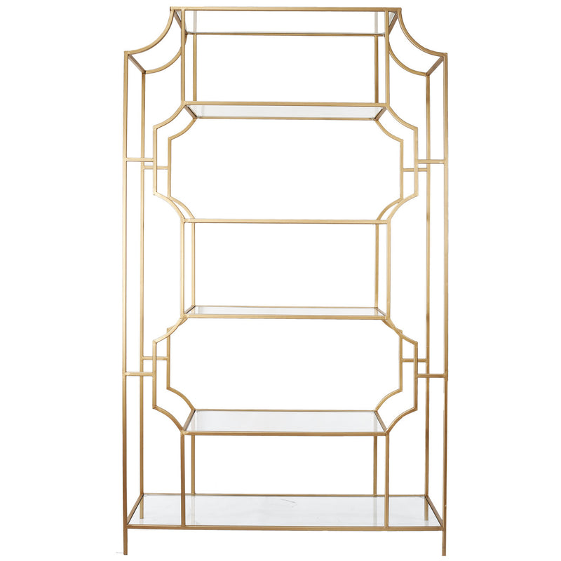 A&B Home Glass/Metal Etagere With Gold Finish
