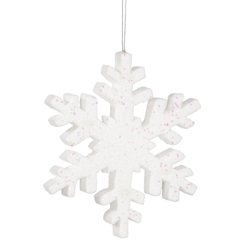 "8"" White Glitter Snowflake Christmas Ornament Set of 6 by Vickerman"