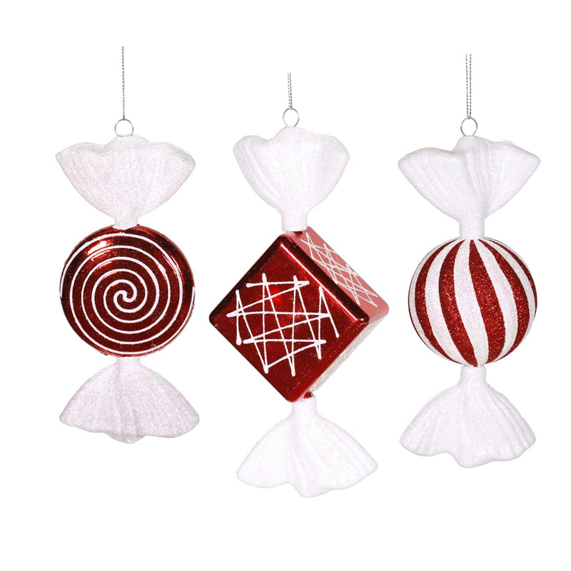 "8"" Red-White Shiny Peppermint Candy Christmas Ornament Set of 2 by Vickerman"