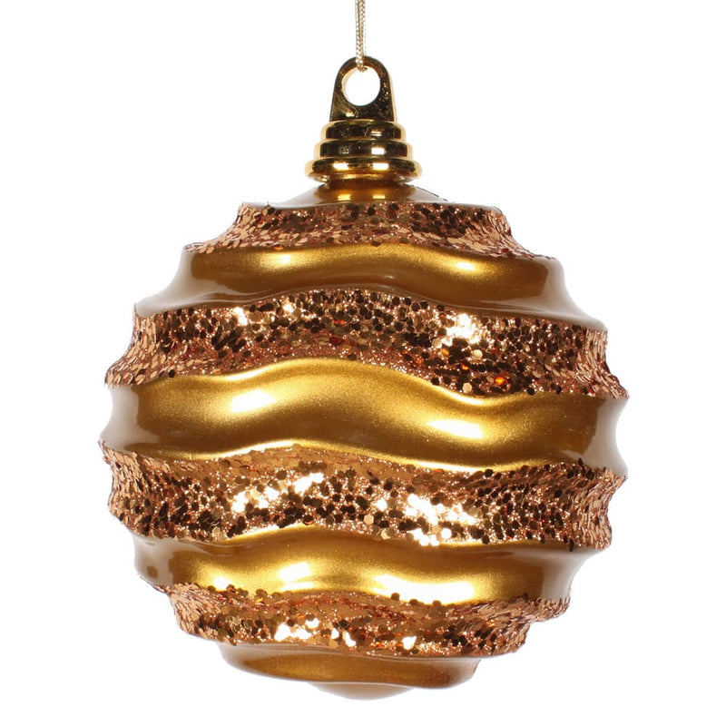 6'' Antique Gold Candy Finish Wave Ball Ornament Set of 6 By Vickerman