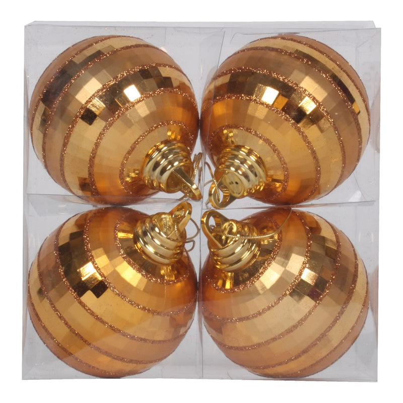 "4"" Antique Gold Shiny/Matte Mirror Ball Christmas Ornament Set of 2 by Vickerman"