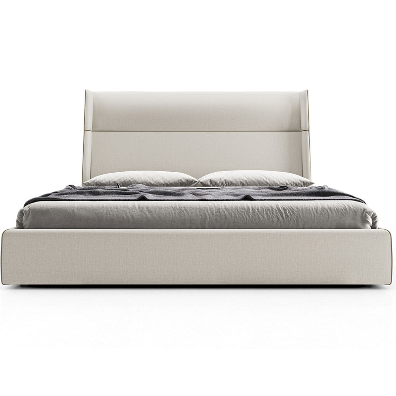 Modloft Bond King Bed in Gris/Chalk Fabric with Cinza Ecopelle Trim