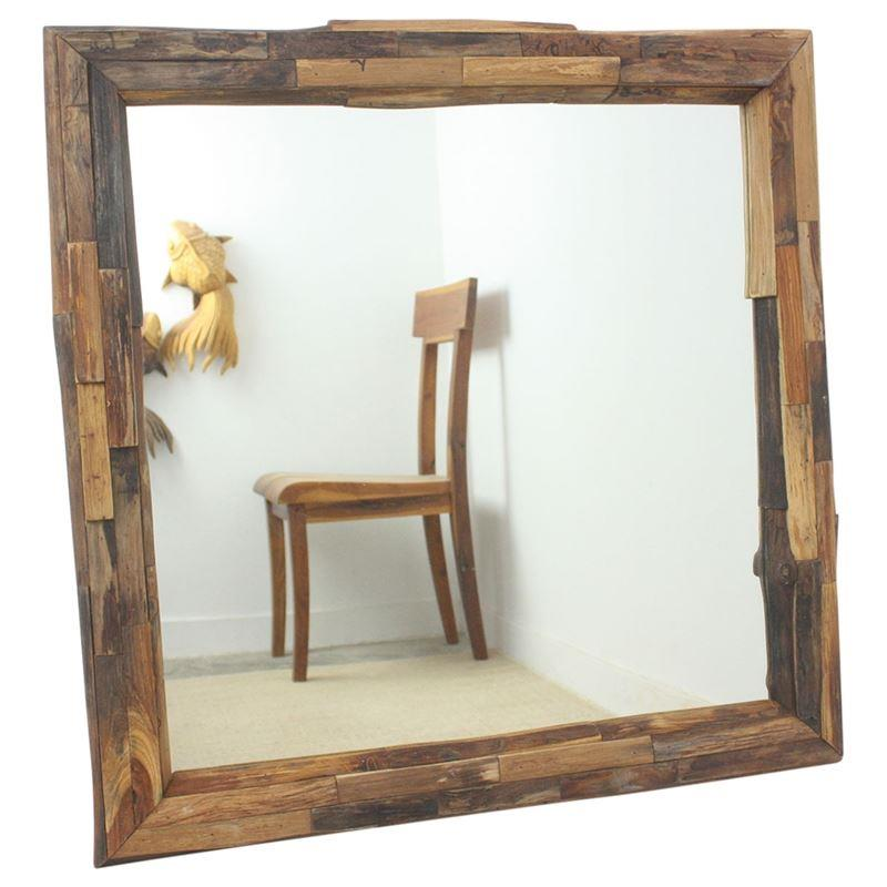 "Haussmann Mirror Ne Teak Branch 30"" Sq - Tung Oil"