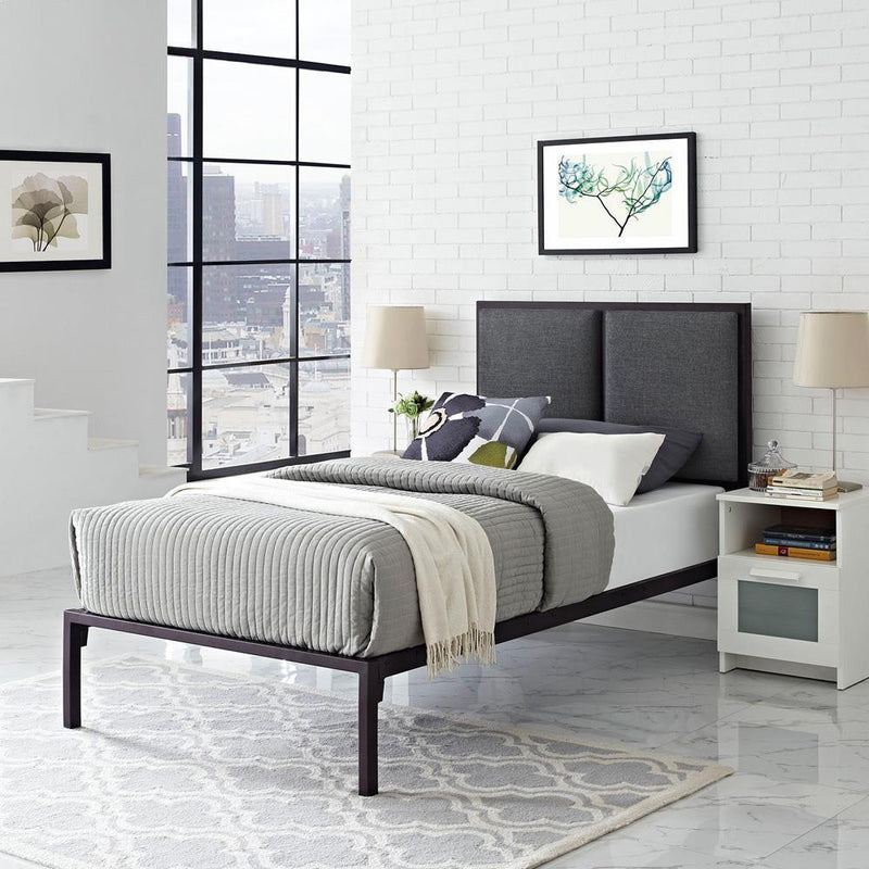 Modway Della Twin Fabric Bed - Brown Gray