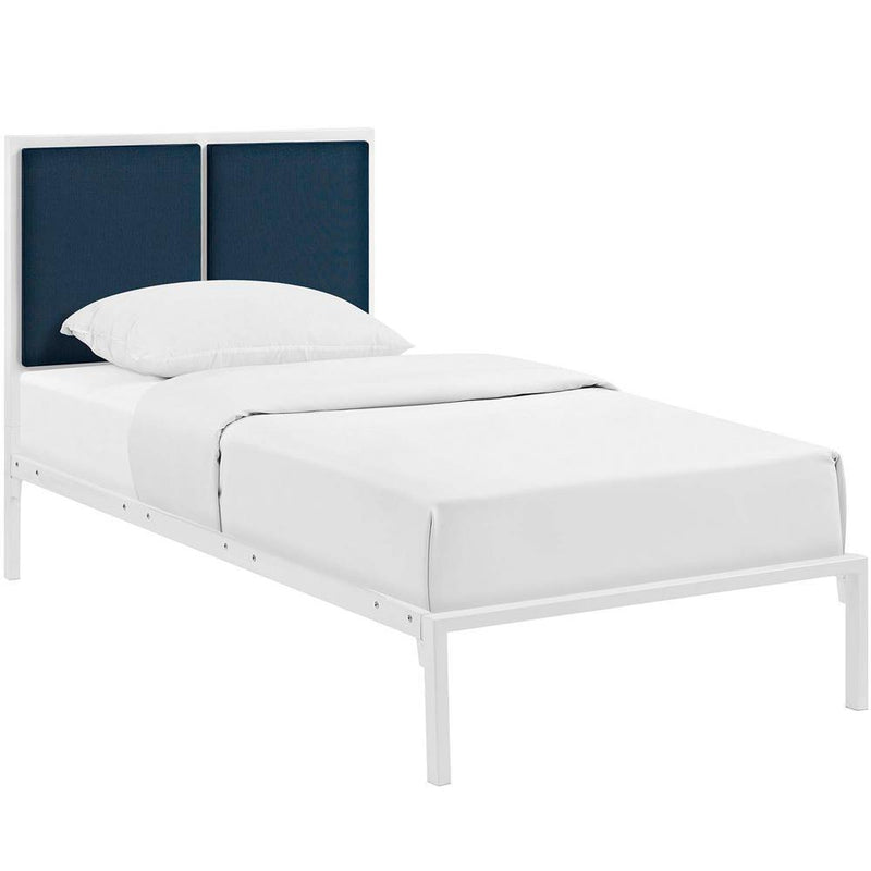 Modway Della Twin Fabric Bed - White Azure