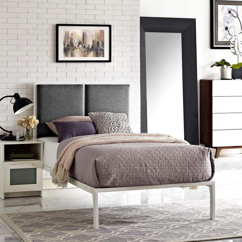 Modway Della Twin Fabric Bed - White Gray