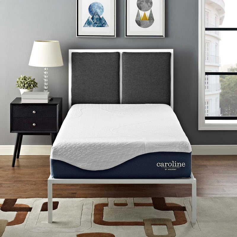 "Modway Caroline 10"" Twin Memory Foam Mattress - White"