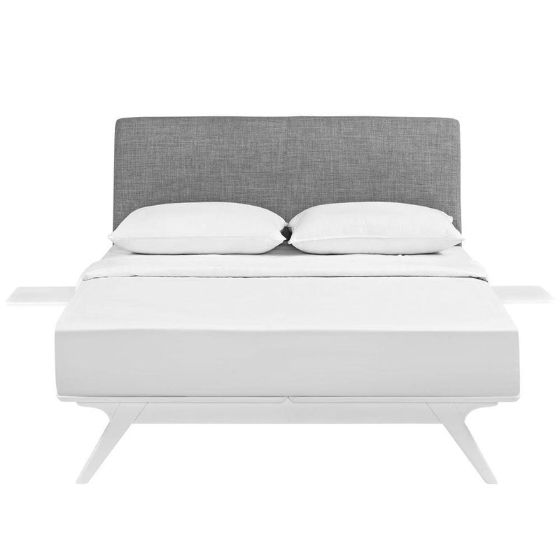 Modway Tracy 3 Piece Full Bedroom Set - White Gray