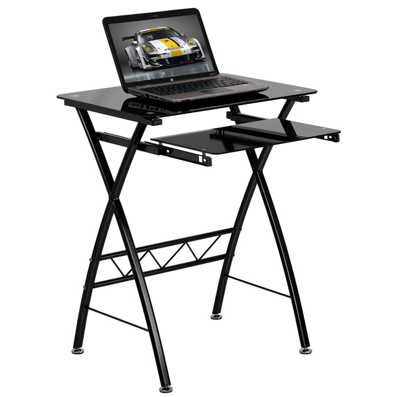 Black Tempered Glass Computer Desk with Pull-Out Keyboard Tray by Flash Furniture