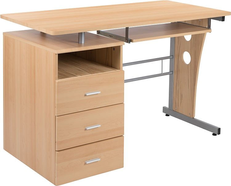 Three Drawer Pedestal and Pull-Out Keyboard Tray by Flash Furniture