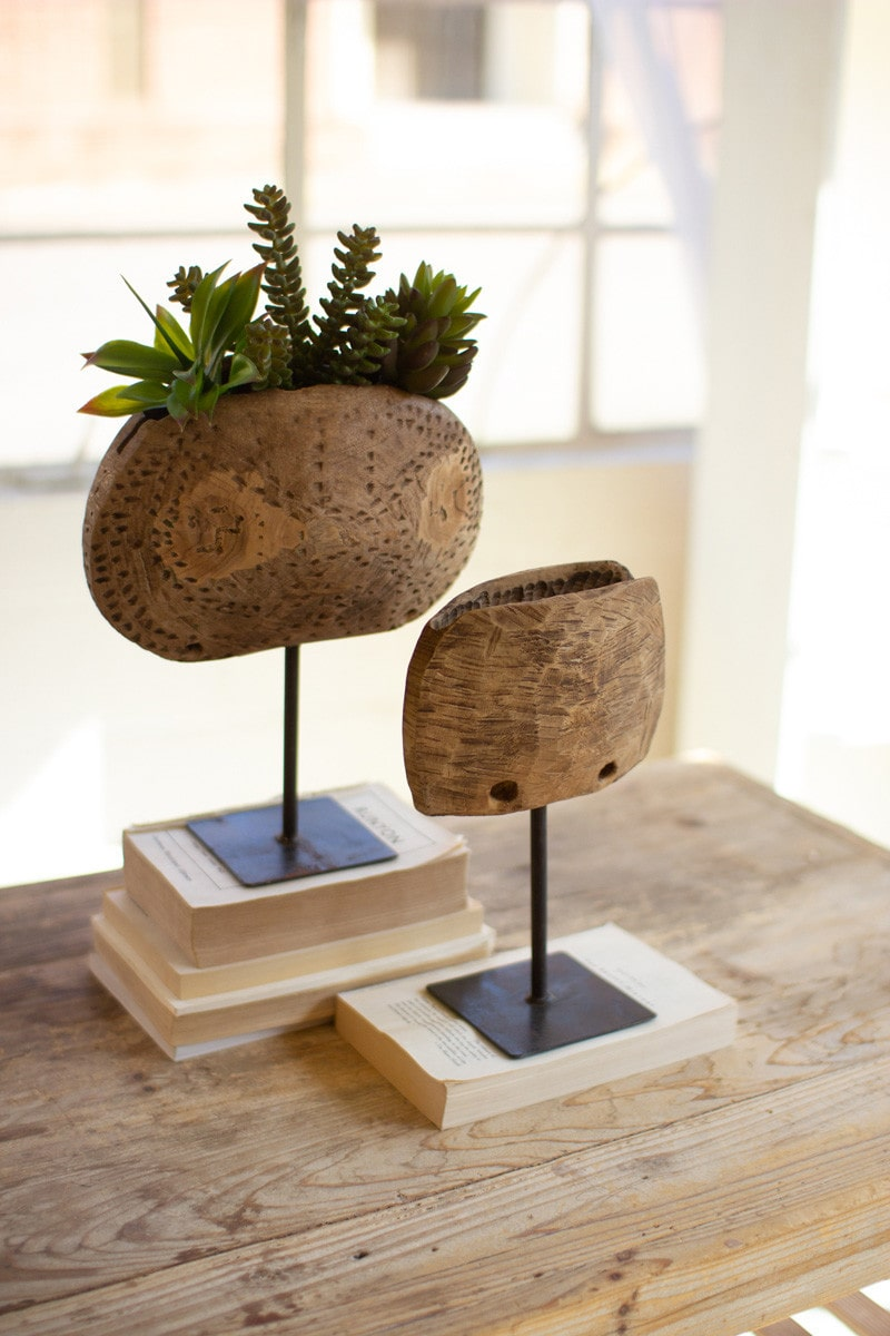 Repurposed Wooden Cow Bell Planters On Iron Stands by Kalalou