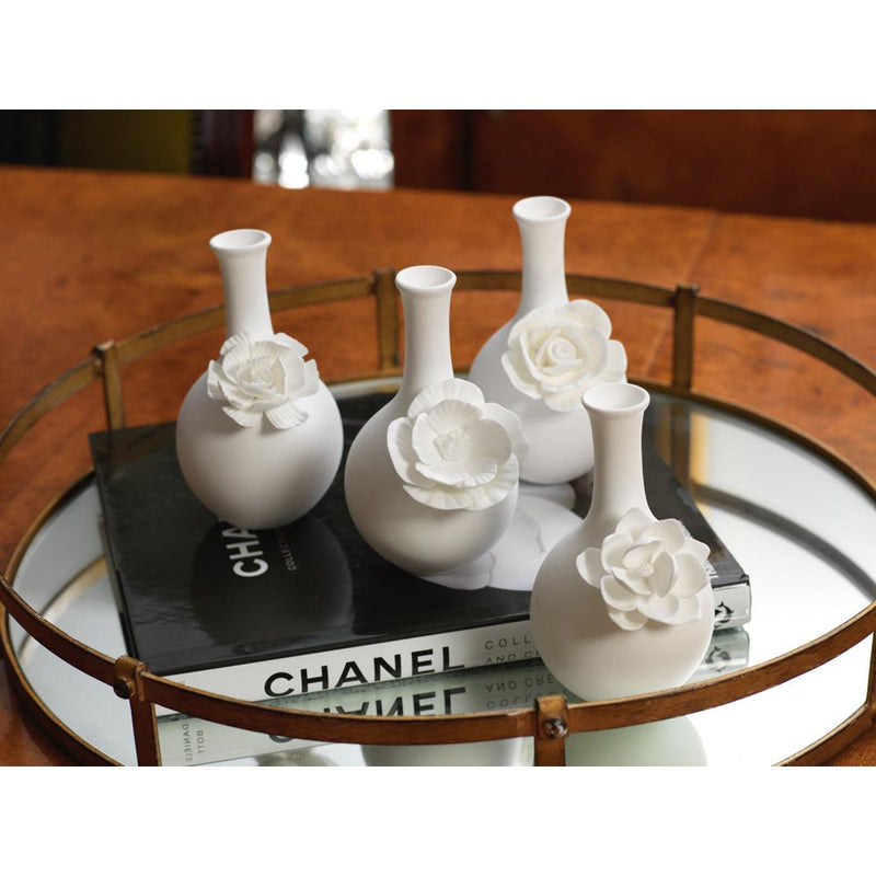 Zodax 4-Piece Cameo Long Neck Porcelain Bud Vase Set.
