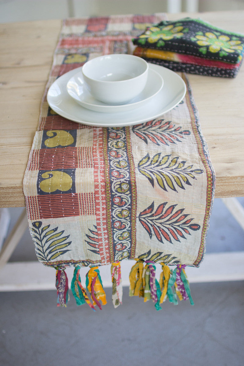 Assorted Kantha Table Runners Set Of 4 By Kalalou