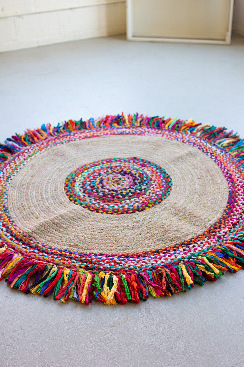 "Kalalou Recycled Round Braided Kantha And Sea Grass Rug - 60"" D"