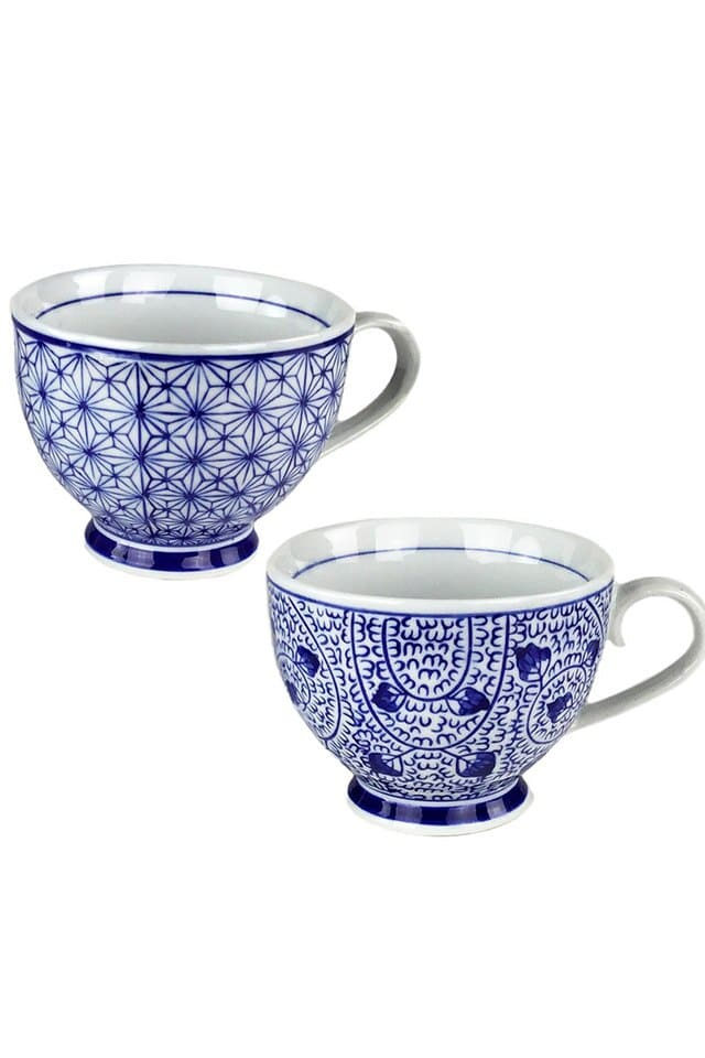 Blue & White Ceramic Coffee Cup Set of 4 by Vagabond Vintage