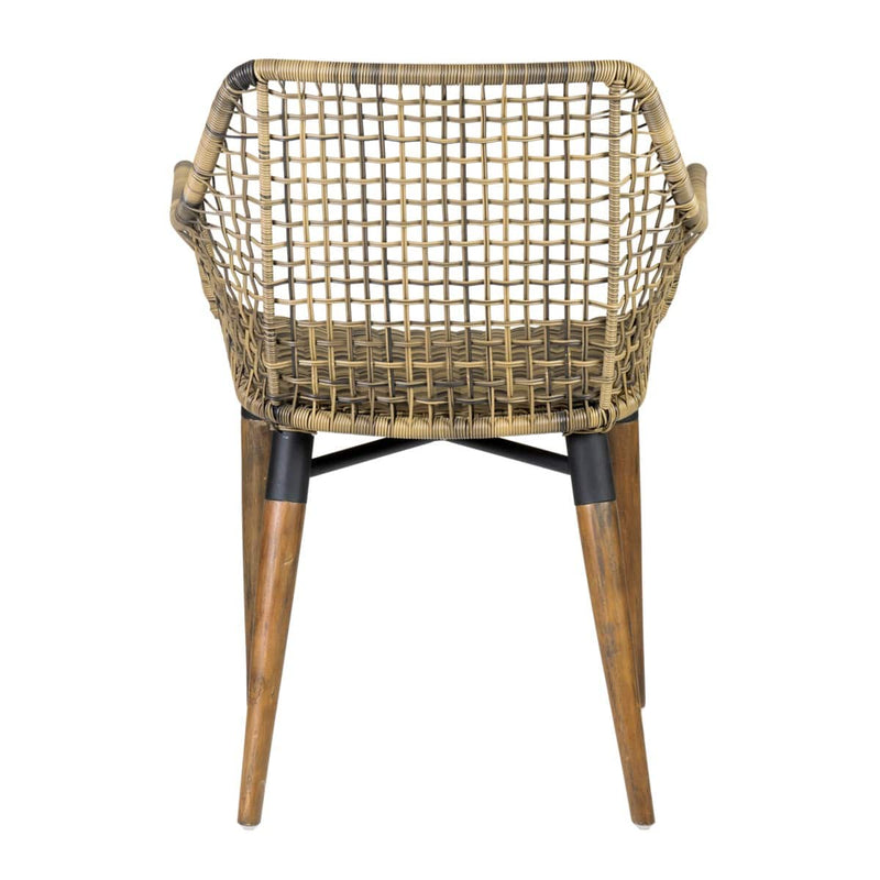 Outdoor Mercury Arm Chair With Wood-Teak, Iron, Polypeel Accents Legs Synthetic Rattan by Jeffan