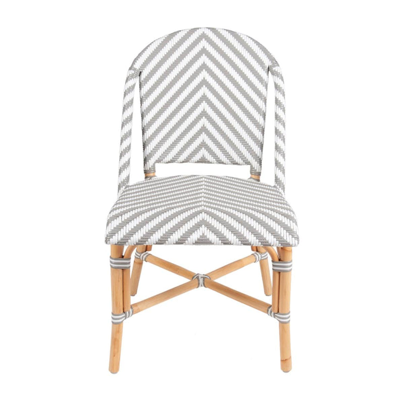 Ezra Bistro Side Chair, Grey and White Set of 2 by Jeffan