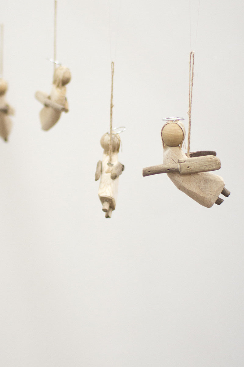 Recycled Wood Christmas Ornament- Angels Hanging Mobile by Kalalou
