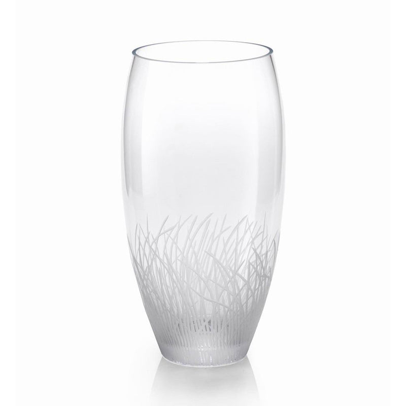 Zodax 15-Inch Tall Oval Engraved Glass Vase