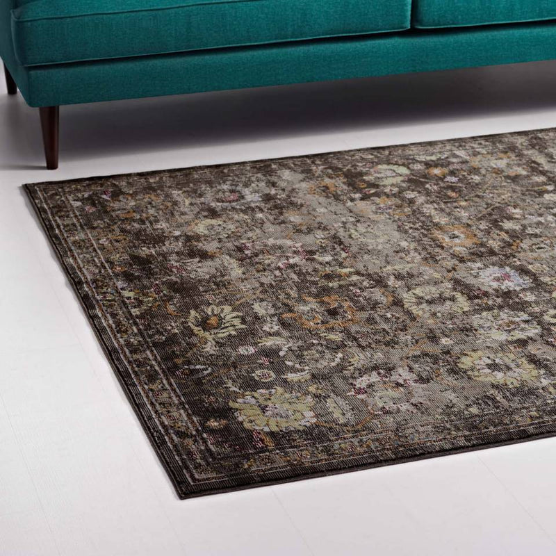 Modway Minu Distressed Floral Lattice 8x10 Area Rug