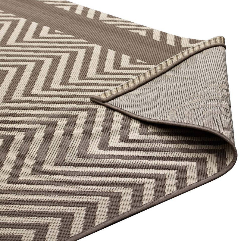 Modway Optica Chevron With End Borders 8x10 Indoor and Outdoor Area Rug