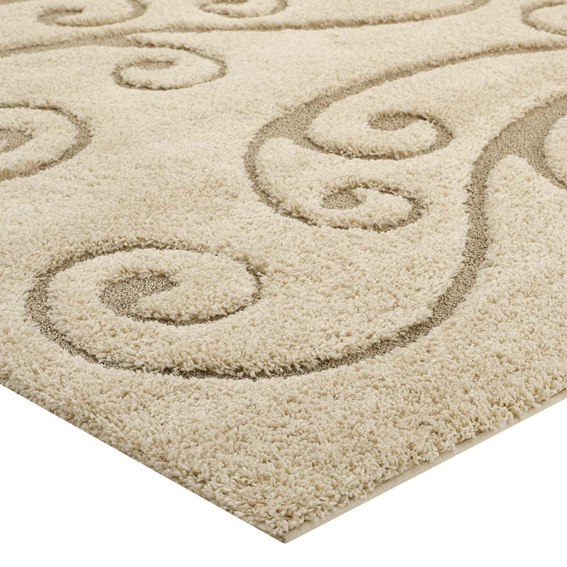 Modway Jubilant Sprout Scrolling Vine 5x8 Shag Area Rug