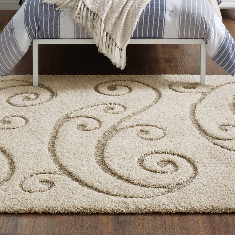 Modway Jubilant Sprout Scrolling Vine 8x10 Shag Area Rug