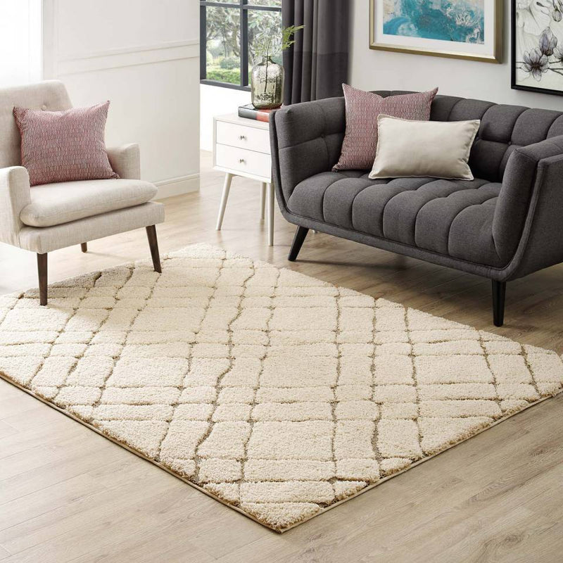 Modway Jubilant Verona Abstract Geometric 8x10 Shag Area Rug