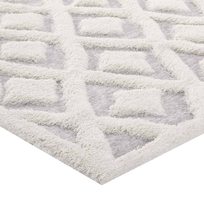 Modway Whimsical Morsel Abstract Diamond Lattice 5x8 Shag Area Rug