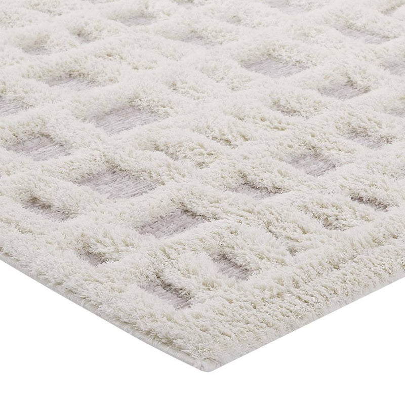 Modway Whimsical Ladder Abstract Plaid Lattice 5x8 Shag Area Rug