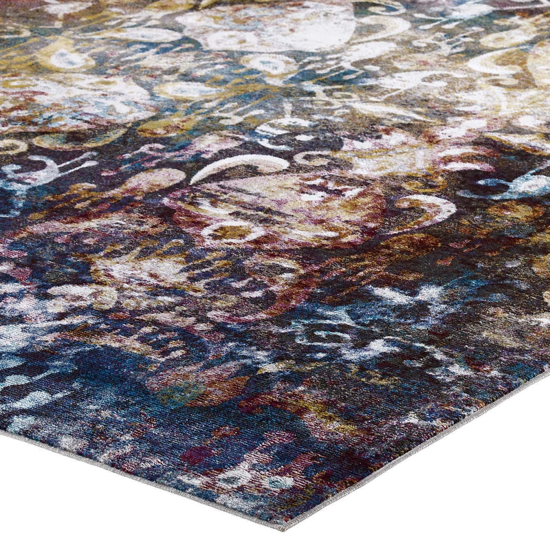 Modway Success Jayla Transitional Distressed Vintage Floral Moroccan Trellis 8x10 Area Rug Multicolored