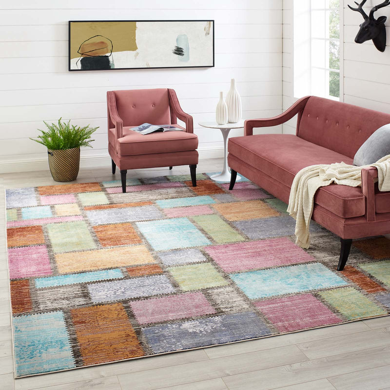 Modway Success Nyssa Abstract Geometric Mosaic 8x10 Area Rug Multicolored