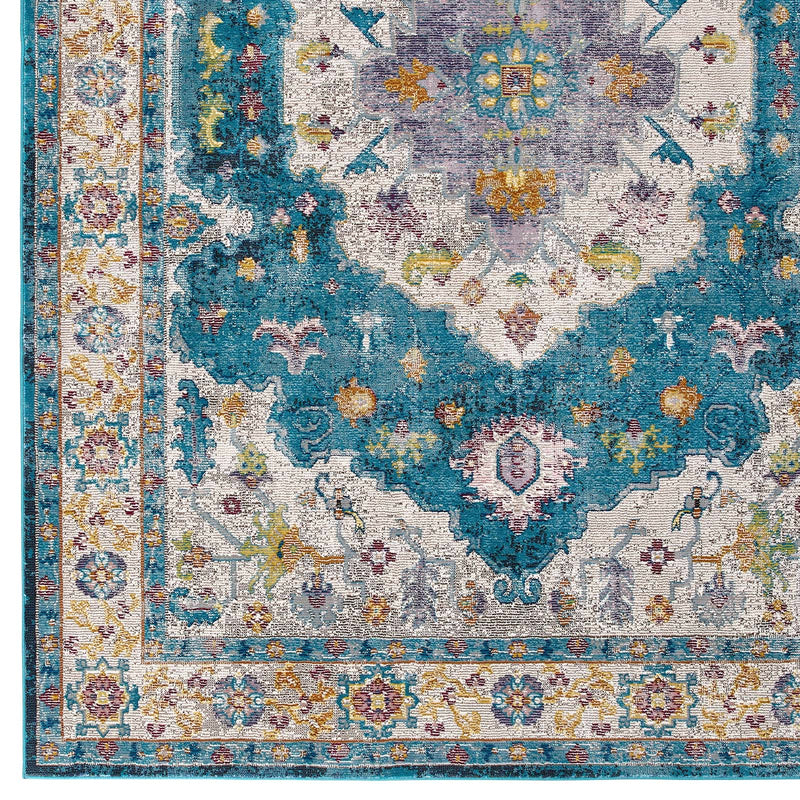 Modway Success Anisah Distressed Vintage Floral Persian Medallion 8x10 Area Rug Blue, Ivory, Yellow, Orange