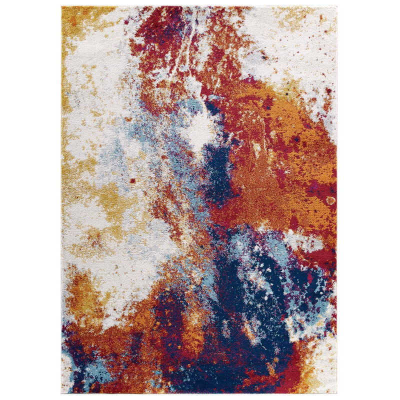 Modway Entourage Adeline Contemporary Modern Abstract 8x10 Area Rug Red, Orange, Yellow, Blue, Ivory