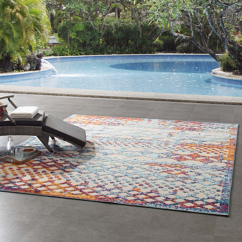 Modway Reflect Giada Distressed Vintage Abstract Diamond Moroccan Trellis 8x10 Indoor and Outdoor Area Rug Multicolored