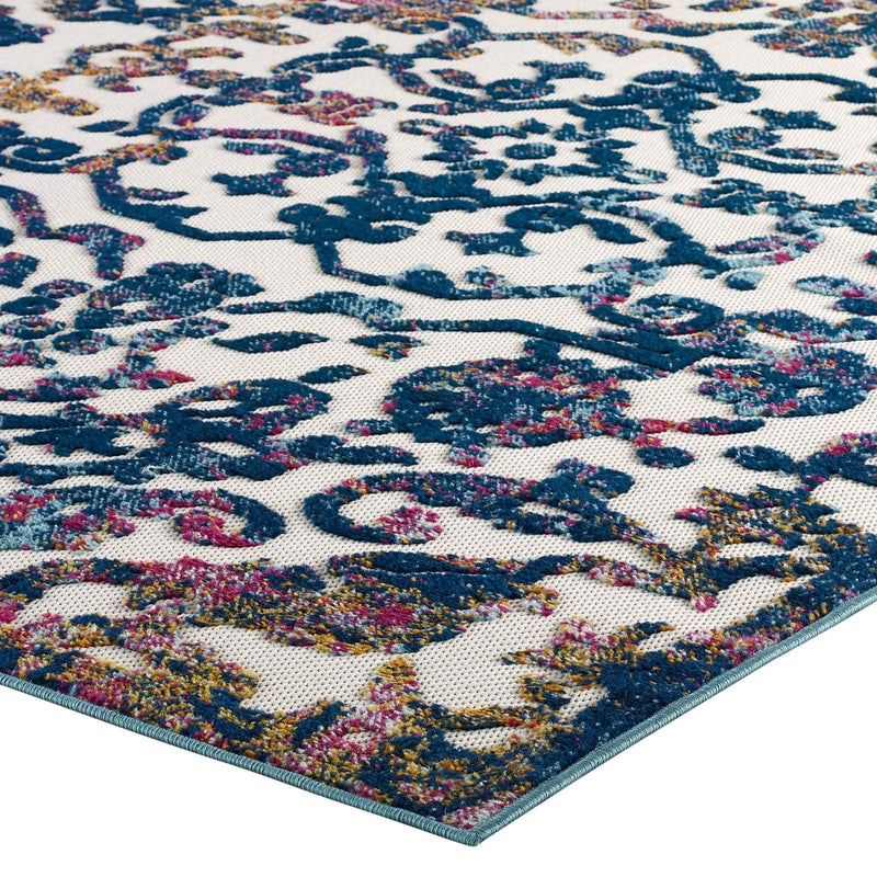 Modway Reflect Primrose Distressed Vintage Ornate Floral Lattice 8x10 Indoor and Outdoor Area Rug Ivory, Dark Blue, Multicolored