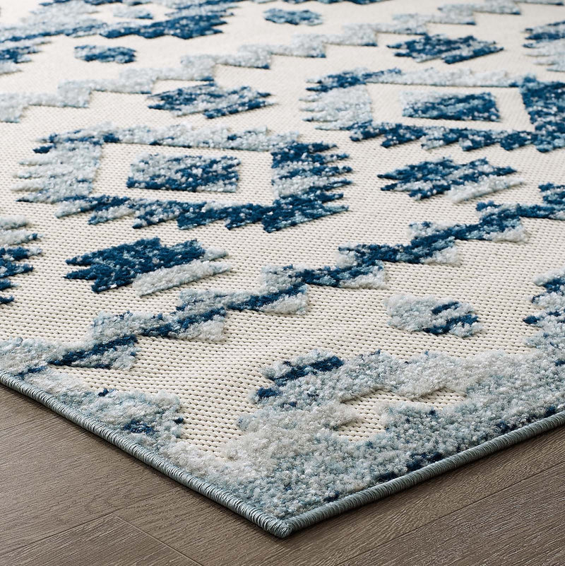 Modway Reflect Takara Distressed Contemporary Abstract Diamond Moroccan Trellis 8x10 Indoor and Outdoor Area Rug Ivory and Blue