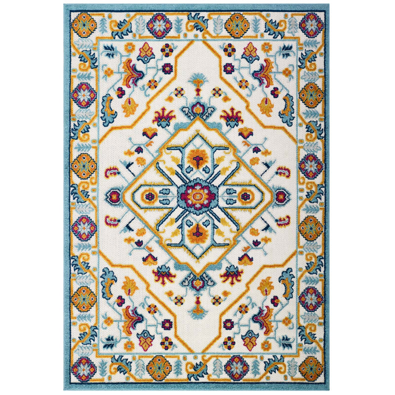 Modway Reflect Freesia Distressed Floral Persian Medallion 5x8 Indoor and Outdoor Area Rug