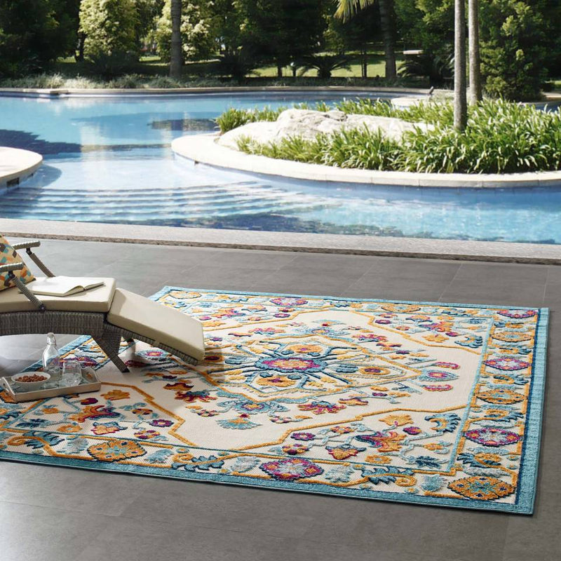 Modway Reflect Freesia Distressed Floral Persian Medallion 8x10 Indoor and Outdoor Area Rug