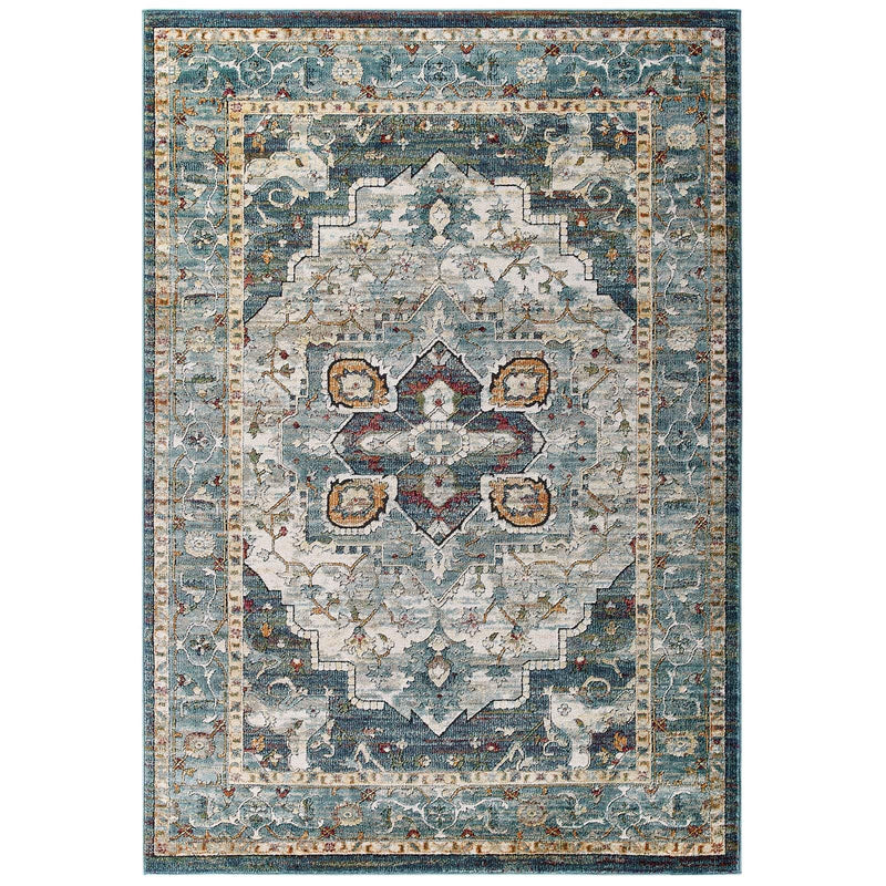 Modway Tribute Diantha Distressed Vintage Floral Persian Medallion 8x10 Area Rug