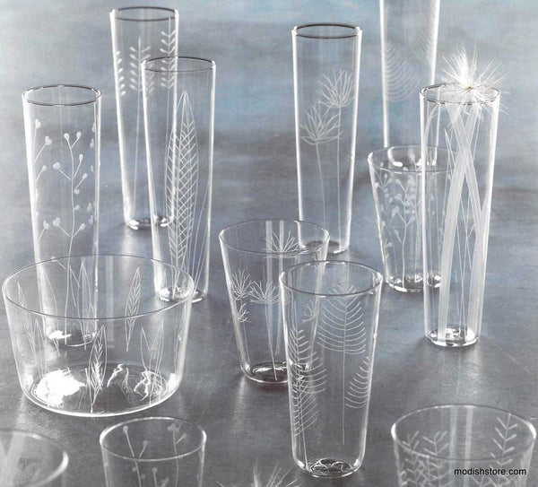 Roost Etched Botanical Glassware Set 6 Juice Glasses