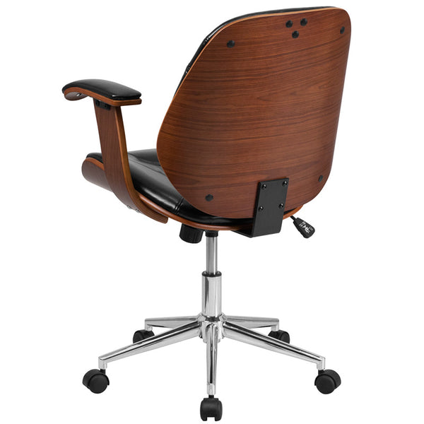 on sale 59b15 96b5a Flash Furniture Mid-Back Black Leather Executive Wood Swivel Office Chair