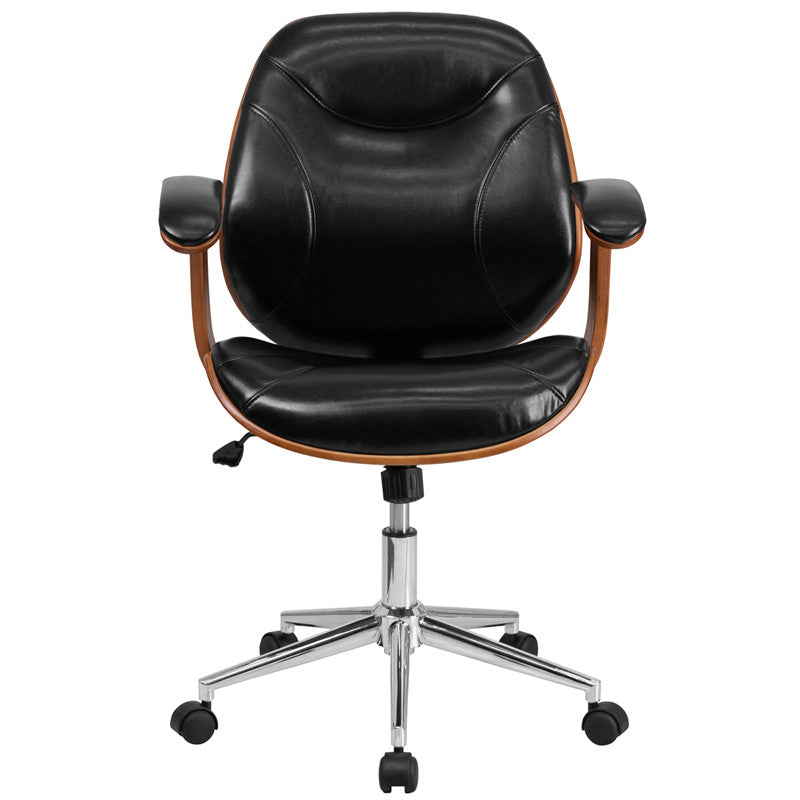Flash Furniture Mid-Back Black Leather Executive Wood Swivel Office Chair